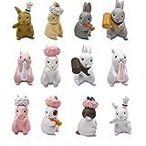 Kimkoala Cute Rabbit Figures Toys, 12Pcs Naughty Plastic Miniature Rabbit Figurines for Handcraft Fairy Garden Ornaments Micro Landscape Decorations Birthday Cake Toppers Kids Gift