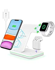 Intoval Wireless Charger, 3 in 1 Charger for iPhone/iWatch/Airpods, Qi-Certified Charging Station for iPhone 12/11/Pro/Max/XS/Max/XR/XS/X, iWatch 6/SE/5/4/3/2, Airpods Pro/2/1 (Z5,White)