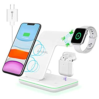 Intoval Wireless Charger, True 3 in 1 for Apple iPhone/iWatch/Airpods, Qi-Certified Wireless Charging Station for iWatch 6/SE/5/4/3/2, iPhone 11/Pro/Max/XS/Max/XR/XS/X, Airpods Pro/2/1 (with Adapter)