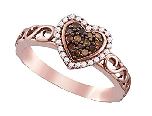 - Brandy Diamond Chocolate Brown 10k Rose Gold Heart Halo Fine Design Ring 1/4 Ctw. (8.5)