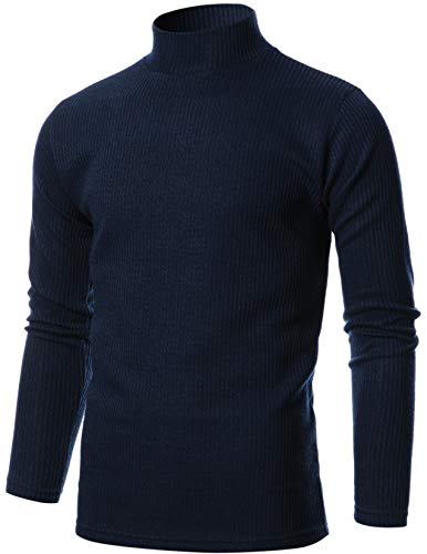 GIVON Mens Slim Fit Soft Cotton Blend Turtle Neck Pullover Sweater/DCP076-NAVY-L