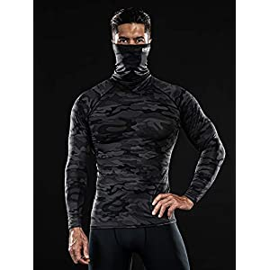 DRSKIN MASK Shirts Turtleneck Compression Top Cool Dry Sports Shirt Baselayer Running Long Sleeve Men