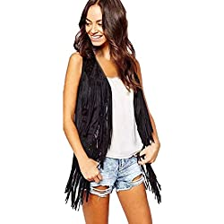 Kstare New Women Fashion Autumn Winter Faux Suede Ethnic Sleeveless Tassels Fringed Vest Cardigan (Black, L)