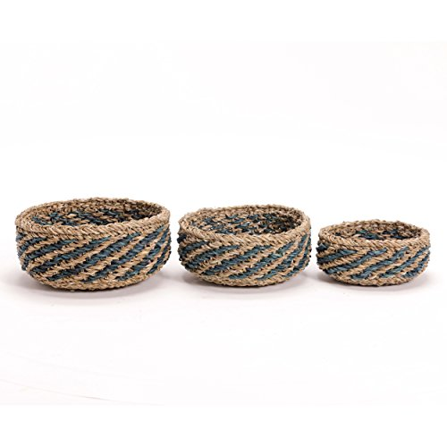 Whole House Worlds The Made by Nature Beach House Bowls, Set of 3, Natural Chunky Sweater Weave, Seaside Blue Stripes, Handmade, From 12-8 Inches In Diameter, By by Whole House Worlds