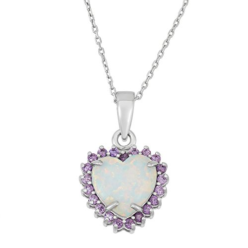 Heart Chain Amethyst (Sterling Silver Created White Opal & Amethyst CZ Heart Pendant with 18