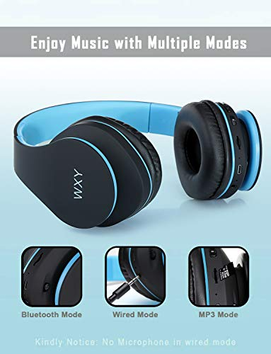 Over Ear Bluetooth Headphones, WXY Wireless Headset V5.0 with Built-in Mic, Micro TF, FM Radio, Soft Earmuffs & Lightweight for iPhone/Samsung/PC/TV/Travel(Black-Blue)