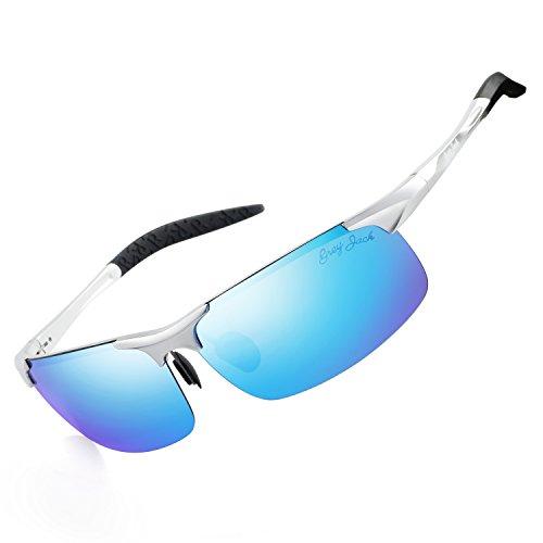 GREY JACK Lightweight Al-Mg Alloy Metal Half-frame Polarized Sports Sunglasses Large for men women Silver Ice Blue -