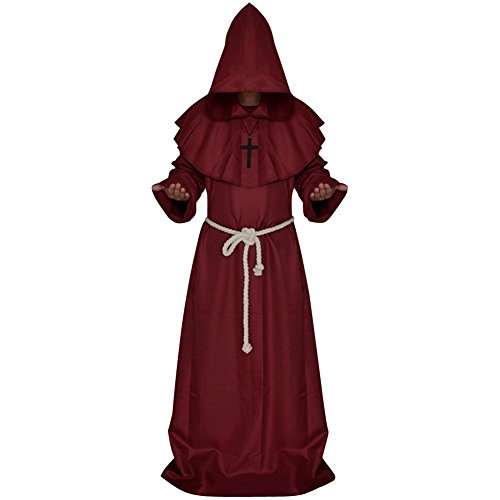 LETSQK Men's Friar Medieval Hooded Monk Priest Robe Tunic Halloween Cosplay Costume Red L -