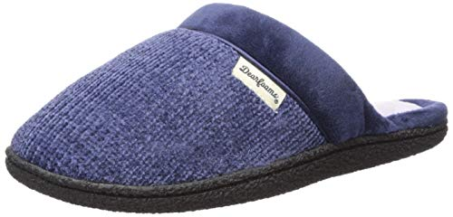 (Dearfoams Women's Chenille Clog with Quilted Sock Slipper Peacoat L M US)
