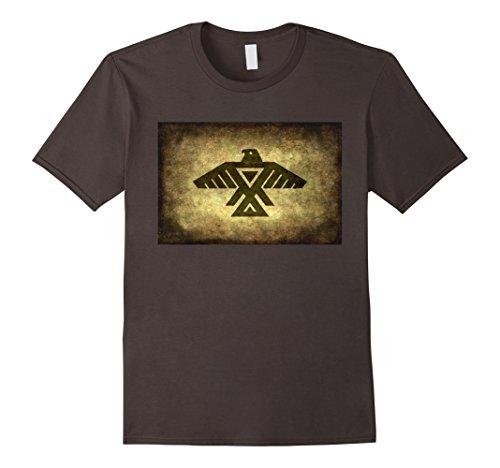(Mens Thunderbird T-Shirt with retro parchment paper treatment 2XL Asphalt)