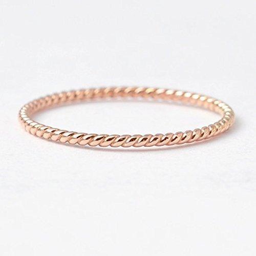 Rose Gold Wedding Rings 14k Twisted Band
