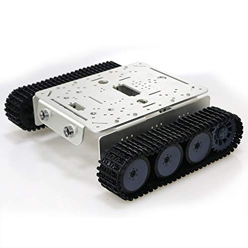 Professional TP200 Metal Track Crawler, Robot Tank Car Chassis Kit with DC High Torque Motor with Encoder, Remote Control Robotic Platform with Aluminum Alloy Panel, DIY RC Toy for Arduino Project Kit