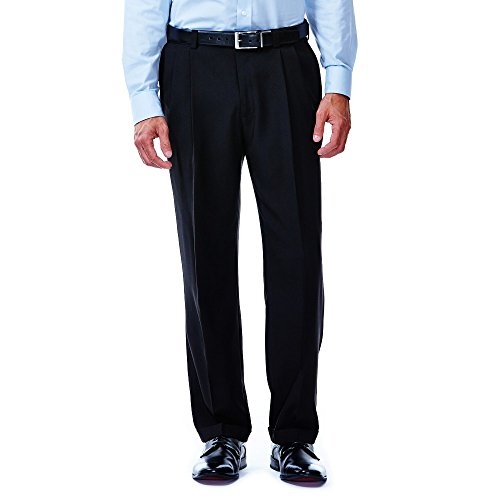 Haggar Mens Big & Tall Repreve Stria Pleated Front Dress Pant, Black, -