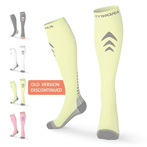 Compression Socks for Men & Women [Cushioned] [One Pair] [Fluorescent] [Large] – Pro Stockings Support for Running, Nurse, Flight Travel, Diabetic, Varicose Veins, Circulation, Pregnancy, ()