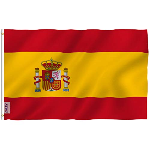 - Anley Fly Breeze 3x5 Foot Spain Flag - Vivid Color and UV Fade Resistant - Canvas Header and Double Stitched - Spainish National Flags Polyester with Brass Grommets 3 X 5 Ft