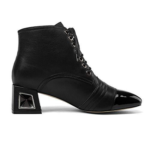 Con De Cordones Botines Negro Tacón Y Fiesta Metal Gruesos Mujer Cuero Cabeza Novedad Yan Botas Otoño Cuadrada Zapatos Para Invierno Noche XPdwPqO