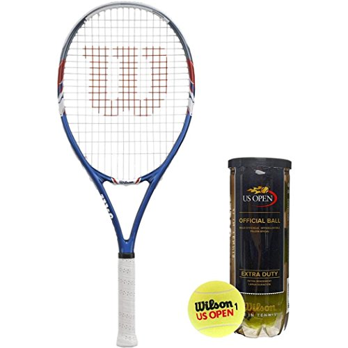 trung Recreational Tennis Racquet (4 3/8 Inch Grip) Kit or Set Bundled with (1) Can of 3 Can of 3 US Open Extra Duty Tennis Balls ()