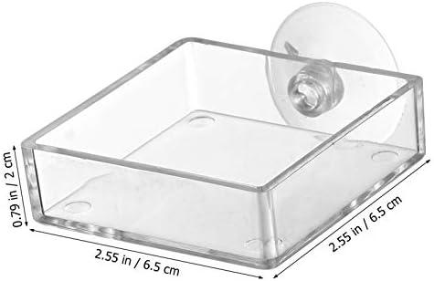 Acuario Plato Alimentador de Camarones Tanque de Peces de Vidrio Cuencos de Alimentación  Bandeja Reptiles Flotantes 8