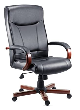 kingston black leather office chair leather faced mahogany arms