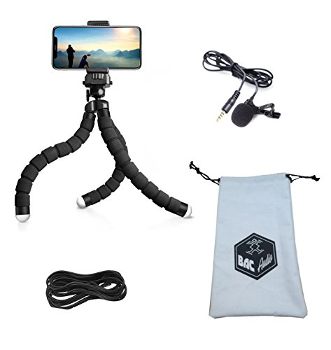 BAC Audio ESSENTIAL VLOGGING EQUIPMENT with Flexible Octopus Tripod, Tablet or Cellphone video recording and Lavalier Microphone for Apple, iPhone, Android Smartphone Youtube Interview and Studio by BAC Audio