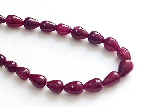 (1 Strand Natural Ruby Plain Straight Drill Teardrop Beads, Ruby Necklace, Ruby Jewelry, Ruby Beads, Genuine Ruby Necklace, 4x7mm - 7x11mm 8