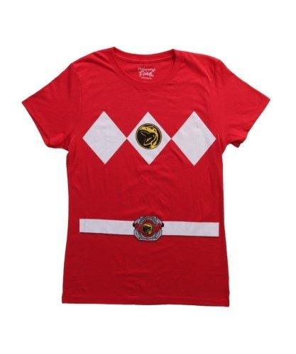 [Power Rangers Red Ranger Costume Red Juniors T-Shirt Tee (Juniors X-Large)] (Woman Power Ranger Costume)