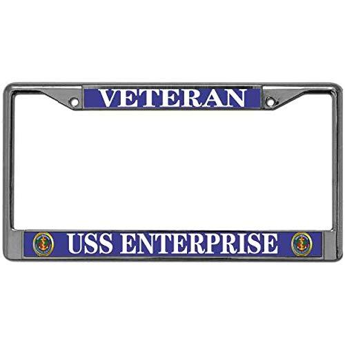 Metal License Plate Frame License Plate Cover 2 Holes USS Enterprise Veteran Auto License Plate Frame US Navy Seal License Plate Frame Tag