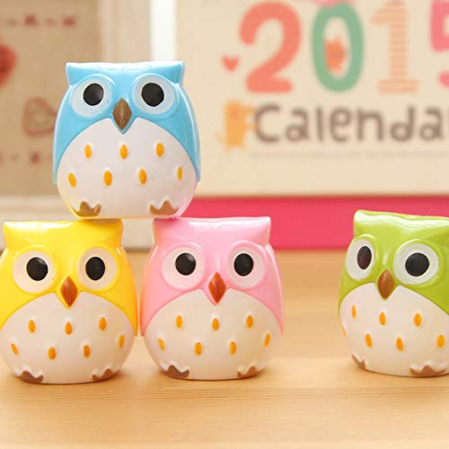 (1PC Owl Pencil Sharpener Cutter Knife Promotional Gift Stationery Student Double Control Cartoon Pencil Sharpener - random color)