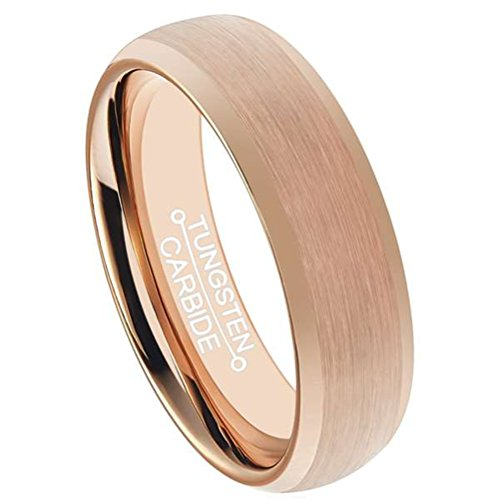 Mens 6mm Rose Gold Tungsten Carbide Ring Fashion Wedding Engagement Band Matte Finish Domed Comfort Fit Size 8 ()