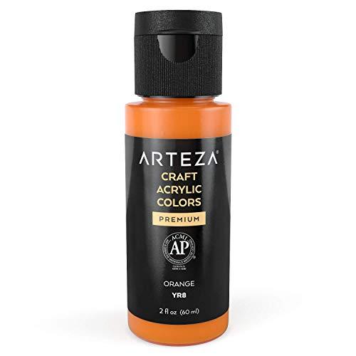 Arteza Craft Acrylic Paint YR8 Orange , 60 ml Bottle, Water-Based, Matte Finish, Blendable Paints for Art & DIY Projects on Glass, Wood, Ceramics, Fabrics, Paper & Canvas