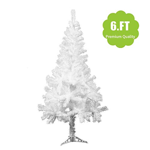 JAXPETY 6Ft White Christmas Tree Artificial Unlit Premium Spruce Hinged Holiday Tree