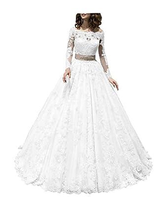 GJVBV 2017 Women's Lace Wedding Dress Long Sleeve Boat Neck Bridal Gowns WG001