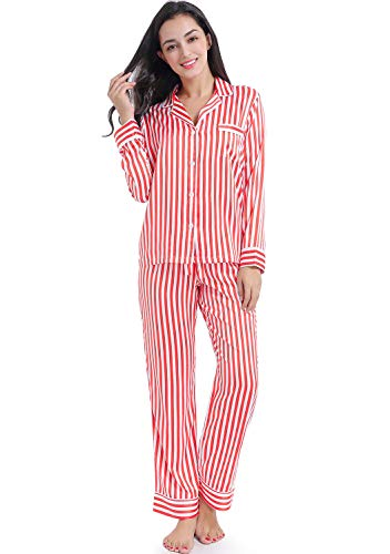 (Serenedelicacy Women's Silky Satin Pajamas Long Sleeve PJ Set (Small / 4-6, Stripe Bright Cerise Ivory))