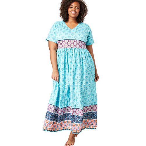 Only Necessities Women's Plus Size Crinkle Cotton Lounger - Aquamarine Multi Print, 5X