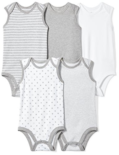 Moon and Back Baby Set of 5 Organic Sleeveless Bodysuits, Grey Heather, 12 Months