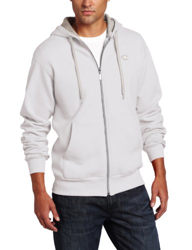 Champion Men's Full-zip Eco Fleece Jacket Hoodie, White, X-Large
