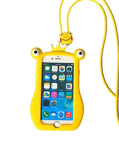 Frog Cell Phone Case (iPhone 7 Plus 8 Plus Novetly Cover Sunvy 3D Frog Moving Eyes Release Stress Anxiety Funny Toys Protective Case For iPhone 7Plus 8 Plus with Strap Rope (Yellow))