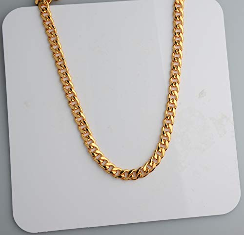 Tool Station Gold Chain , Gold necklace, necklace for men , Feel Real Solid 18k Gold plated Curb Fake Chain Necklace 10mm