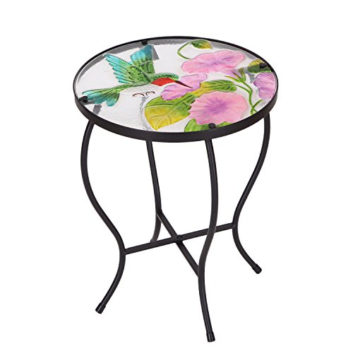 Adeco Round Side Table Plant Stand Flower Holder Accents Serving Snack Tea, Embossed Artistic Pattern Glass Top (Tile For Patio Tables Designs)