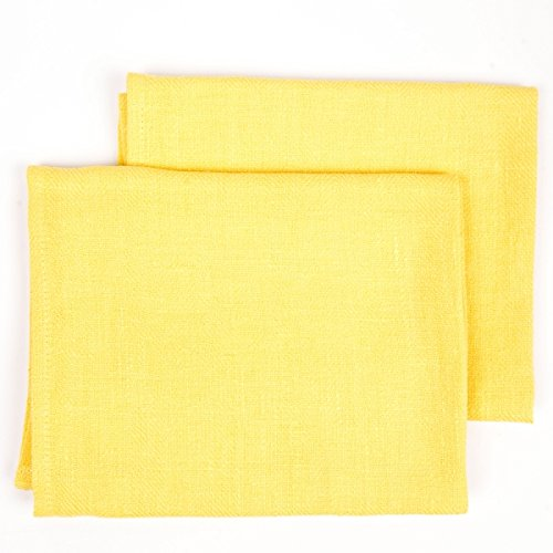 Yellow 17 by 28-Inch LinenMe Linen Lara Hand Towels Set of 2 LinenMe Inc 0253501