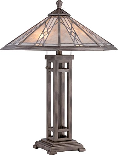 Quoizel MCCS6326AS Cyrus Stained Glass Tiffany Table Lamp, 2-Light, 120 Watts, Anniversary Silver (26