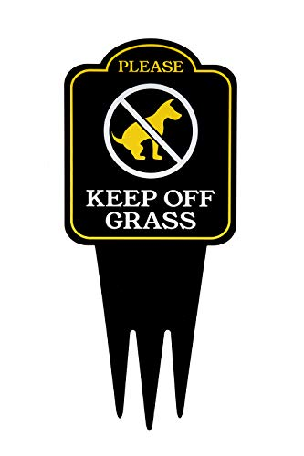 Keep Off Grass Yard Sign With Stake | No Dogs, No Pets, No Peeing, No Pooping on Lawn Signs | Unique Triple Self Staking Design | Heavy Duty Dibond Aluminum | Larger 18