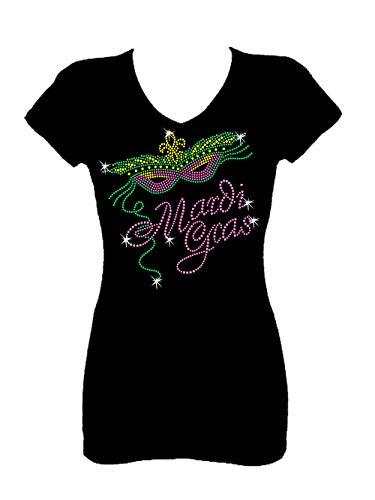 Mardi Gras Fleur Rhinestone Party New Orleans V Neck Short Sleeve Tee Shirt (1X) Black