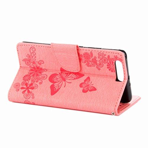 Yiizy Huawei P10 Plus Custodia Cover, Farfalla Fiore Design Sottile Flip Portafoglio PU Pelle Cuoio Copertura Shell Case Slot Schede Cavalletto Stile Libro Bumper Protettivo Borsa (Rosa)