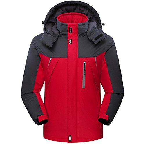CROTI Men's Ski Jackets Waterproof Windproof Fleece Jackets Mountain Hooded Jackets Outdoors Winter (XXL, Red)