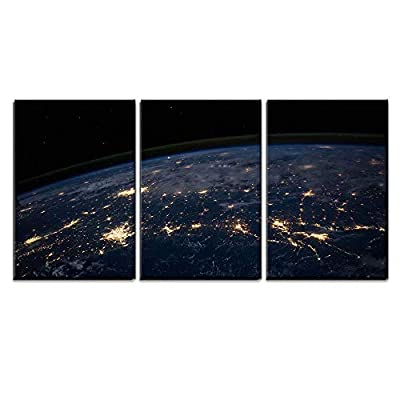 3 Piece Canvas Wall Art - Planet Earth from The Space at Night - Modern Home Art Stretched and Framed Ready to Hang - 16