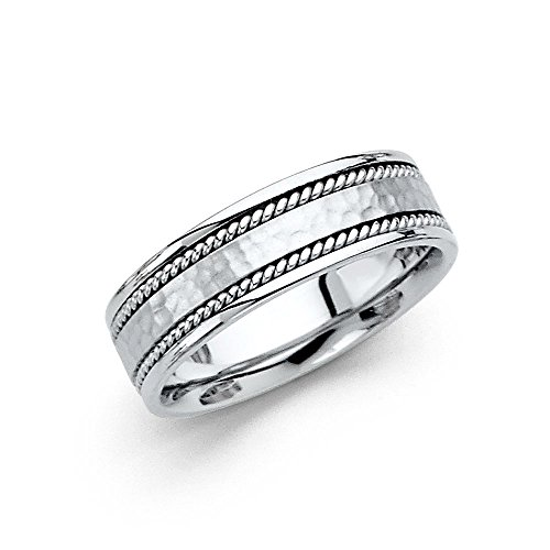 14k White Gold Ring Solid Wedding Band Hammered Finish Rope Edge Comfort Fit Mens Womens 6 mm Size 8 by ZenJewels