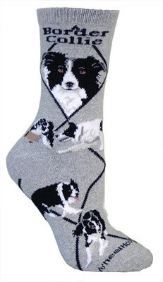 Border Collie Socks<br>Size 9-11 Ladies