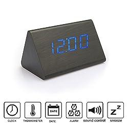 Anten Creative LED Digital Wood Alarm Clock Voice Sound Control USB/AAA Time Date Temperature Display 5.39X3.46X3.46 Inch Blue Light Black