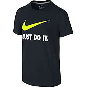 NIKE Boys' Just Do It Swoosh Tee, Black/Volt, Medium
